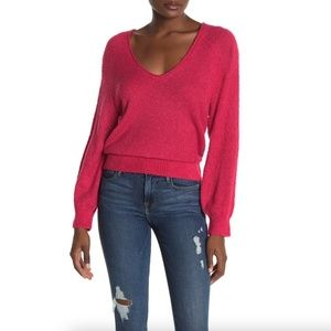 Abound V-Neck Boucle Knit Sweater in RED POTION